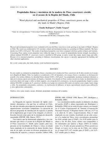 Propiedades físicas y mecánicas de la madera de Pinus canariensis ...