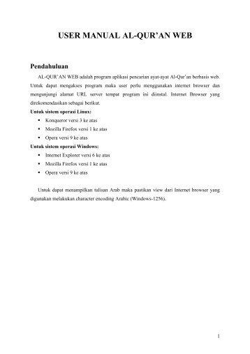 USER MANUAL AL-QUR'AN WEB Pendahuluan - Kambing UI