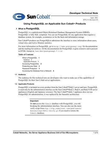 Developer Technical Note Using PostgreSQL on Applicable Sun ...