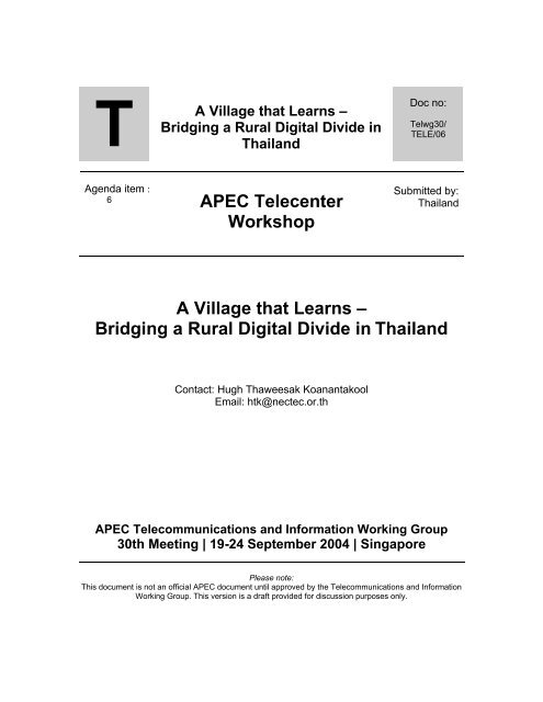 TELE_06 Thailand From Telecenters to a Village