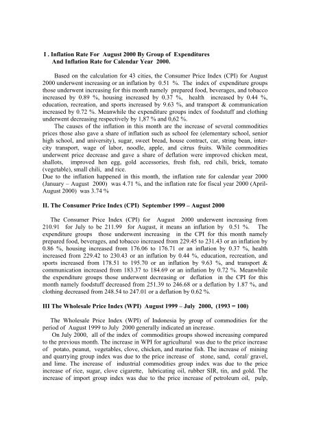 I . Inflation Rate For August 2000 By Group of ... - Index of
