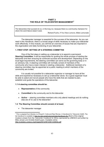43 PART 3 THE ROLE OF TELECENTER MANAGEMENT1
