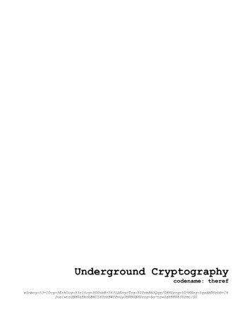 Underground Cryptography