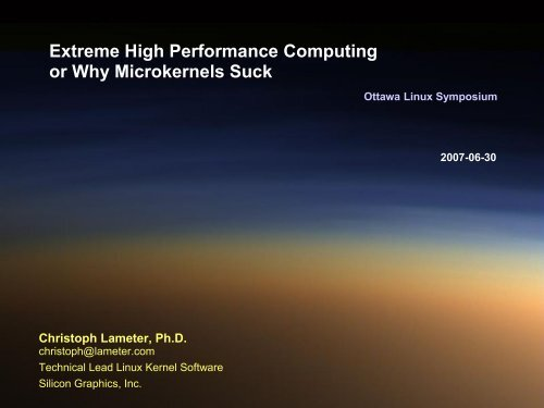 Extreme High Performance Computing or Why Microkernels ... - dei.uc.
