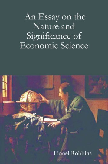 essay on the nature and significance of economic science 1932