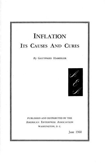 Inflation: Causes, Remedies and Control