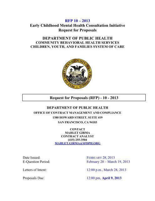 RFP 10 ? 2013 Early Childhood Mental Health Consultation