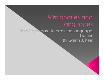 Have Studied A Language? - Missions Mandate