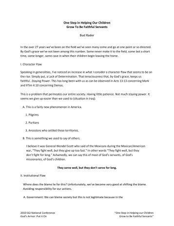 Read - Missions Mandate