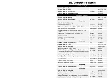 2012 Conference Schedule - Missions Mandate