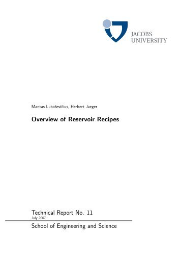 Overview of Reservoir Recipes Technical Report No. 11 School of ...