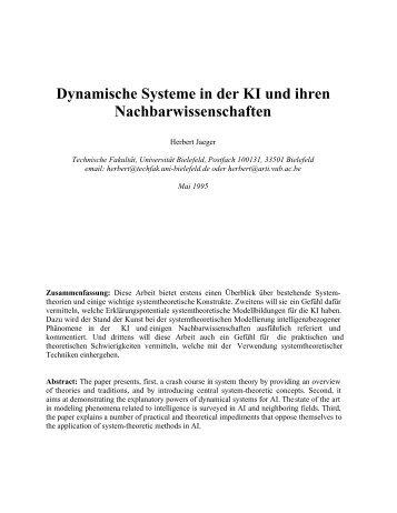 Dynamische Systeme in der KI und ihren ... - MINDS
