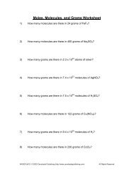 Worksheet: Mole Problems