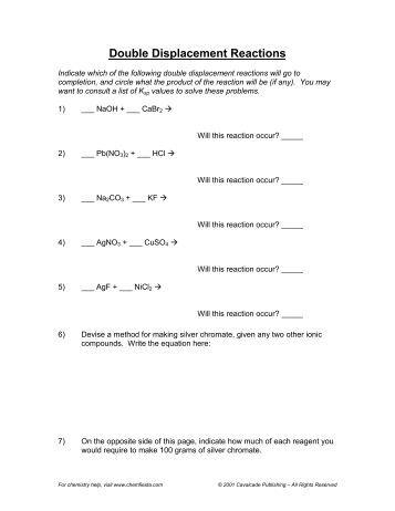 Double Replacement Reaction Worksheet - Secretlinkbuilding