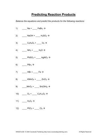 Worksheets Predicting Products Of Chemical Reactions Worksheet reaction products worksheet key predicting products