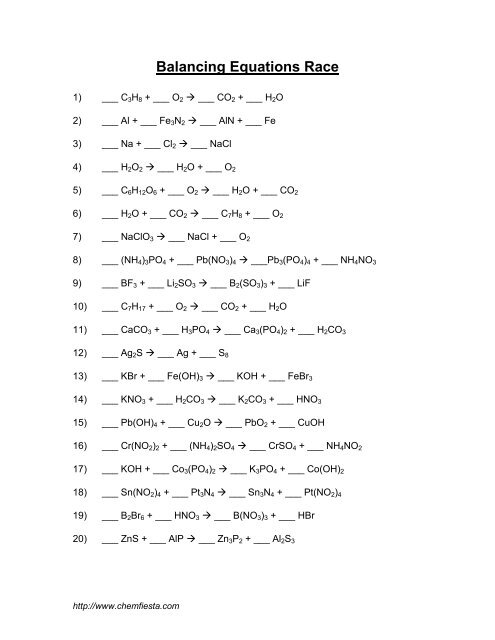 Balancing Chemical Equations Practice Worksheet With Answers How To also Balancing Equations Worksheet Answers To Chemfiesta Another further Grade Chemistry Balancing Chemical Equations Worksheet New Practice as well Balancing Equations Practice Worksheet Chemfiesta Answers together with Download By Balancing Equations Grade 9 Chemical Worksheet Answers moreover chemistry practice worksheets – tahiro info further Balancing Equations Practice Worksheet Answer Key Order Of Ch moreover balancing equations worksheet answers 650 841   Chemfiesta Balancing additionally Balancing Equations Worksheet   Balancing Equations Worksheet 1 GaF3 together with Balancing Chemical Equations Lab Worksheet Answers Image Answer Key additionally Balancing Equations Practice Worksheet further Best Of Clification Chemical Reactions Worksheet Answers moreover Balancing Equations Race as well Balancing Act Practice Worksheet Answers 5 Equations Problems also Balancing Equations Ex les Practice Worksheet Cl 10 Cbse additionally Balancing Chemical Equations Worksheet Answers Worksheets With. on balancing equations practice worksheet chemfiesta