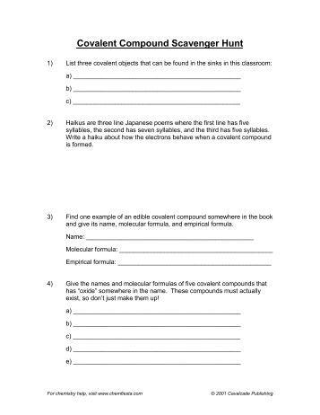 Covalent Compounds Worksheet
