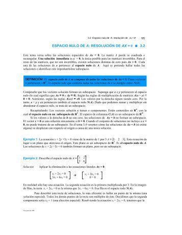 ESPACIO NULO DE A: RESOLUCIÓN DE AX = 0 3.2