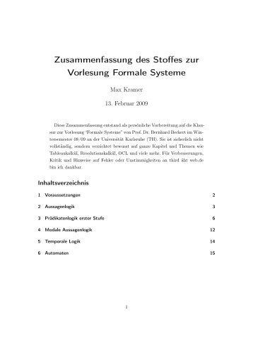 Zusammenfassung des Stoffes zur Vorlesung Formale Systeme