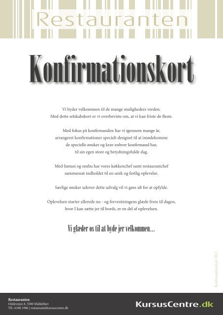 Konfirmationskort for Restauranten - KursusCentre.dk