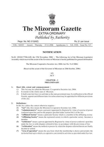 the Mizoram Co-operative Societies Act, 2006.