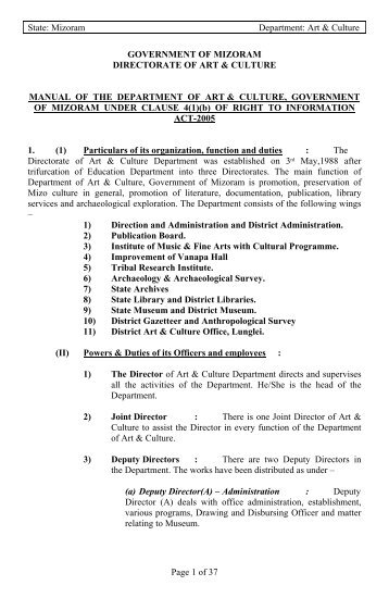 Manual on Right to Information Act, 2005 - Mizoram