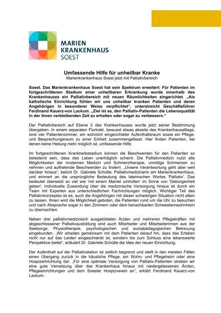 Neuer Palliativbereich - Marienkrankenhaus Soest - Katholischer ...