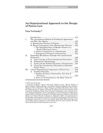 An Organizational Approach to the Design of Patent Law
