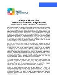 Herz-Notfall-Ambulanz ausgezeichnet - Marienkrankenhaus Soest