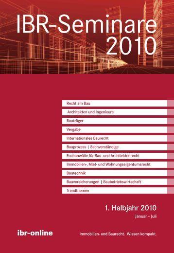 Ibr-Seminare 1. Halbjahr 2010