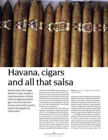 Havana, cigars and all that salsa - Sir Johnny Scott