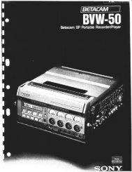 Sony Bvw-50 Manual - Talamas Broadcast Equipment