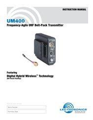 Lectrosonics UM400 - Budget Video Rentals