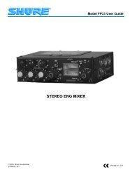 Shure FP-33 Manual - Hollywood Studio Rentals
