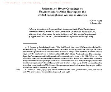 Statement on House Committee on Un-American Activities Hearings ...