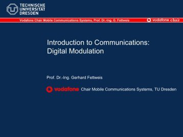 Digital Modulation - Vodafone Chair Mobile Communications Systems