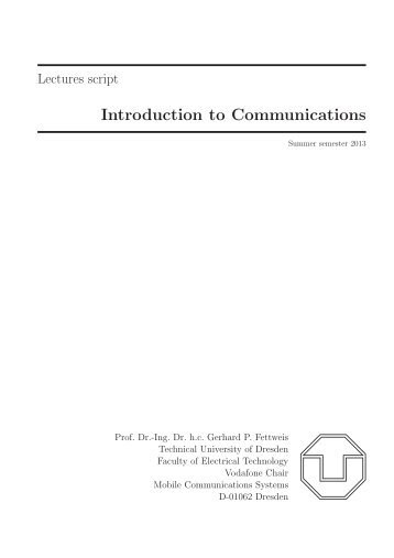 Lecture script - Vodafone Chair Mobile Communications Systems