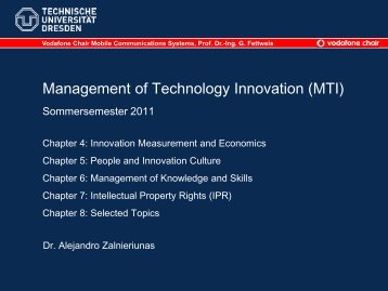 Management of Technology Innovation (MTI) - Vodafone Chair ...