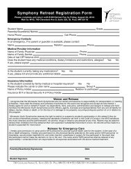 Symphony Retreat Registration Form - Minnesota Youth Symphonies