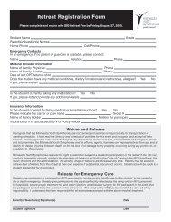 Retreat Registration Form - Minnesota Youth Symphonies