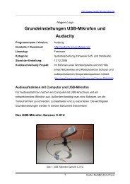 Grundeinstellungen USB-Mikrofon und Audacity - Mediaculture online
