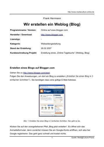 Wir erstellen ein Weblog (Blog) - Mediaculture online