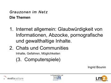 Grauzonen im Netz - Mediaculture online