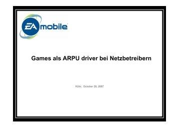 Games als ARPU driver bei Netzbetreibern