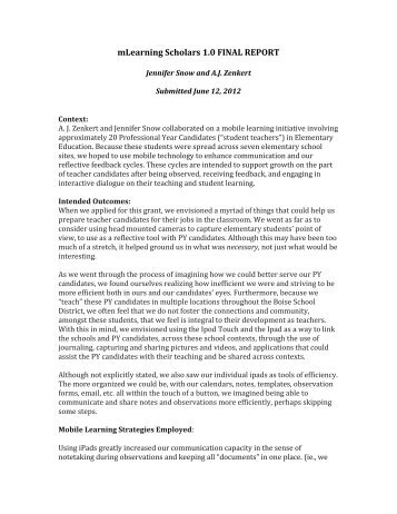 Jennifer Snow and A.J. Zenkert - mLearning Final Report - Mobile ...