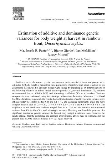 Estimation of additive and dominance genetic variances for - CGIL ...