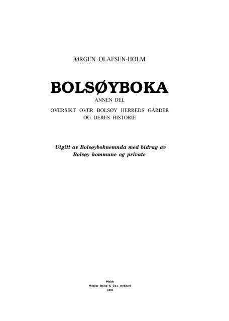 6d5f95da Jørgen Olafsen-Holm: Bolsøyboka 2 - Romsdal Sogelag