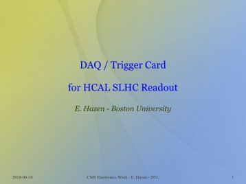 DAQ / Trigger Card for HCAL SLHC Readout - Boston University