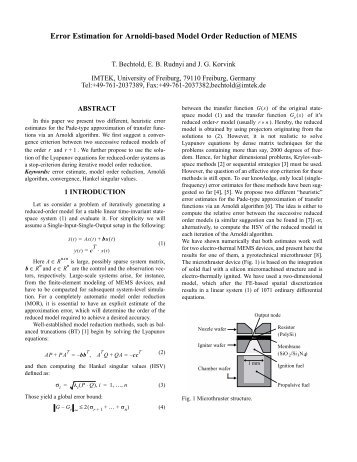 Error Estimation for Arnoldi-based Model Order Reduction of MEMS