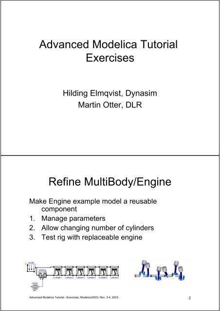 Advanced Modelica Tutorial Exercises Refine MultiBody/Engine